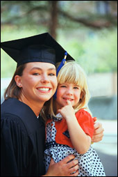 (image of graduating mother with daughter)